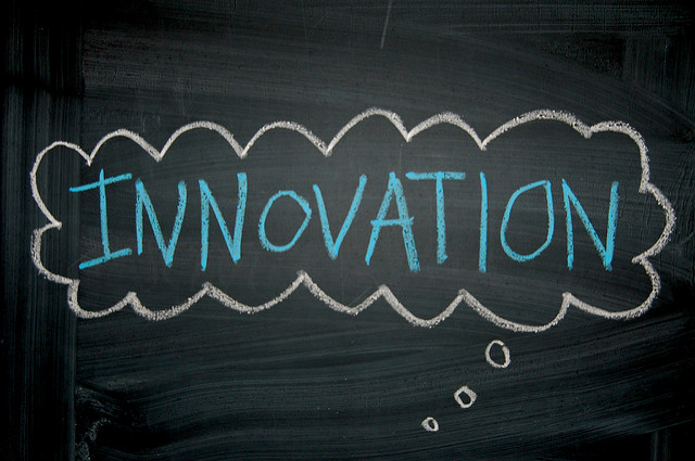 Innovation thought bubble on chalk board